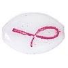 Glass Bead 16x11mm Oval White With Pink Ribbon - Strung